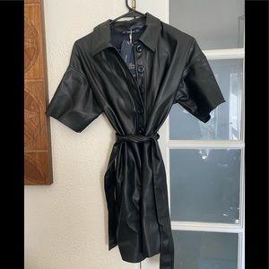 NEW ZARA faux leather black dress